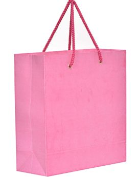 Plain pink color paper carry bag with red color dori handle.