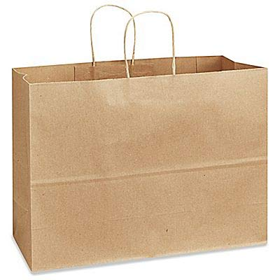 This brown paper bag is landscape in shape to carry more items.